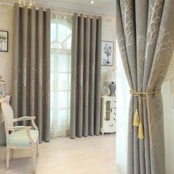 2021 New Curtains for Living Room Bedroom Modern Minimalist Jacquard Curtain Fabric Flannel Blackout Drapes/Curtains, Curtains Curtains Drapes & Valances Home Garden & Appliance Home Textiles Window Treatments & Hardware cb5feb1b7314637725a2e7: Gray curtain|green curtain