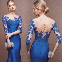 Royal Blue Mother Of The Bride Dresses Half Sleeves See Through Back Women Mermaid Evening Dress for Wedding Party Plus Size Dresses Mother of The Bride Dresses Weddings & Events Women cb5feb1b7314637725a2e7: Blue|Red