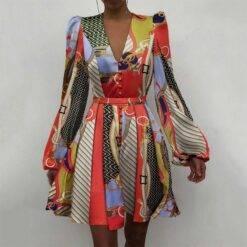 2021 Autumn Floral Print Satin Party Dress Women Deep V-neck Button Mini Dress Autumn Elegant Puff Shoulder A-Line Dresses Belt Dresses Women cb5feb1b7314637725a2e7: style1|style10|style2|style3|style4|style5|style6|style7|style8|style9