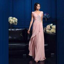 Wholesale Charming Pink Chiffon Full Length Mother of the Bride Dresses Deep V Neckline Beaded Wedding Party Gowns Back Out Women cb5feb1b7314637725a2e7: Beige|Black|Blue|Champagne|Gray|Ivory|Orange|Photo color|Purple|Red|Silver|White